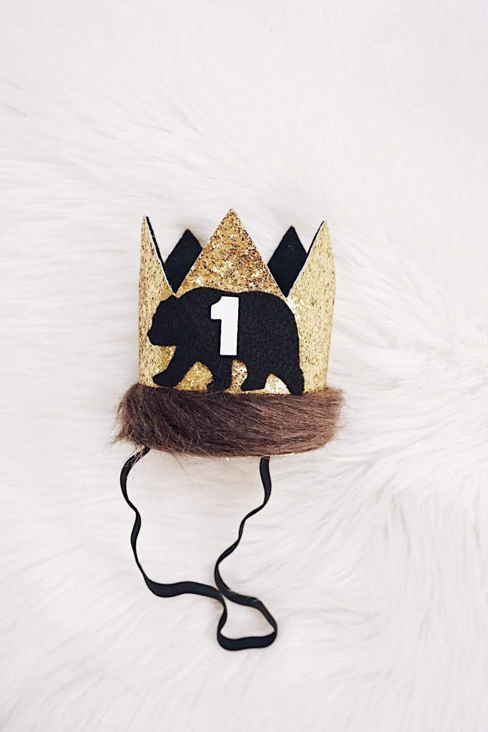 Bear Birthday Crown - Party Hat - Teddy Bear Birthday - Bear and Mountain Baby - Boy
