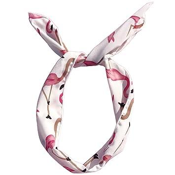 Lunji Flamingo/Polka Dot - Diadema con lazo, elástica, para ...
