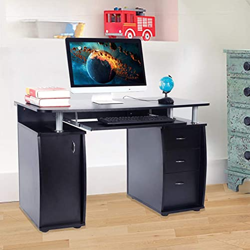 MTFY Computer Desk with Drawers,Home Office Desk, Computer Workstation, Study Writing Desk with Storage Drawer and Pull-Out Keyboard Tray