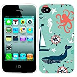 iPhone 4s Case, iphone4s case,iphone 4 case,iphone4 case, ChiChiC full Protective unique Stylish Case slim flexible durable Soft TPU Cases Cover for iPhone 4 4g 4s,navy anchor whale sea horse octopus