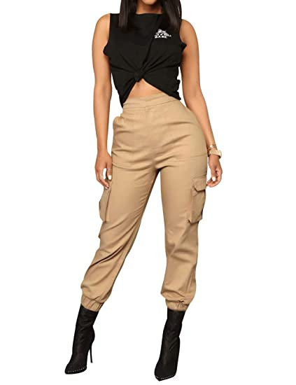 Los Angeles 564cf c4a57 Pantalon Cargo Femme Taille et Bas Elastique Pantalon de Jogging Femme  Chino Skinny Taille Grande
