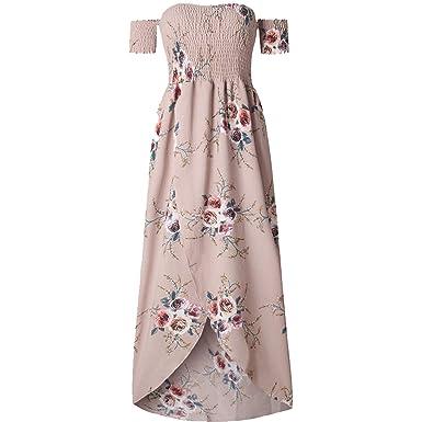 6f95660b065 Cyose Fashion Summer Short Sleeve Shirred Off Shoulder Dress Wrap Front  Floral Print Women Maxi Beach