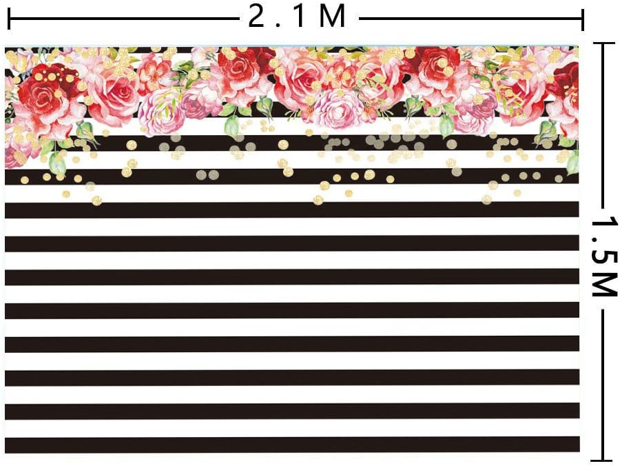7/×5ft Background Wall Summer Holiday Black White Stripes Backdrop Photo Studio Room Photography Background Birthday Backdrops for Party Flower Backdrop Photo Booth Background Photography Backgro