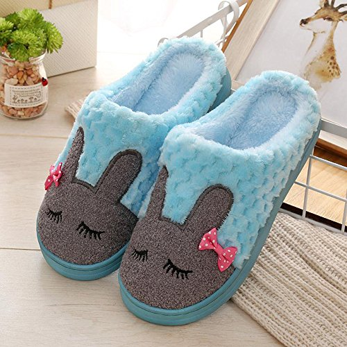 Eagsouni Unisex Winter Warm Home Cotton Slippers Couples Warm Faux Fur Slipper Indoor Anti-Slip Cartoon Rabbit Shoes for Women Men Blue t3YBIB384