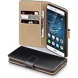 Huawei P9 Case, Terrapin Handy Leder Brieftasche Case Hülle mit Kartenfächer für Huawei P9 Hülle Schwarz mit Hellbraun Interior