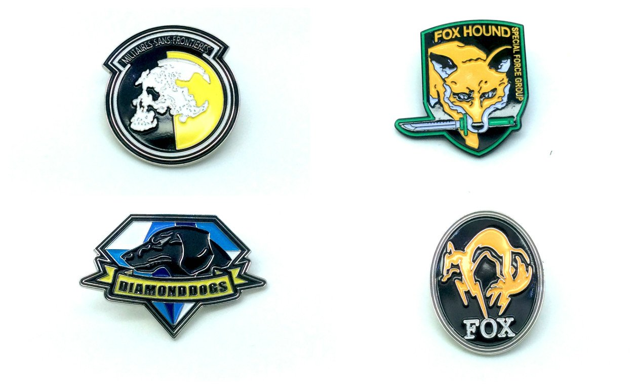 Metal Gear Solid Cosplay Metal Pin Badge Set di Quattro Patch Nation