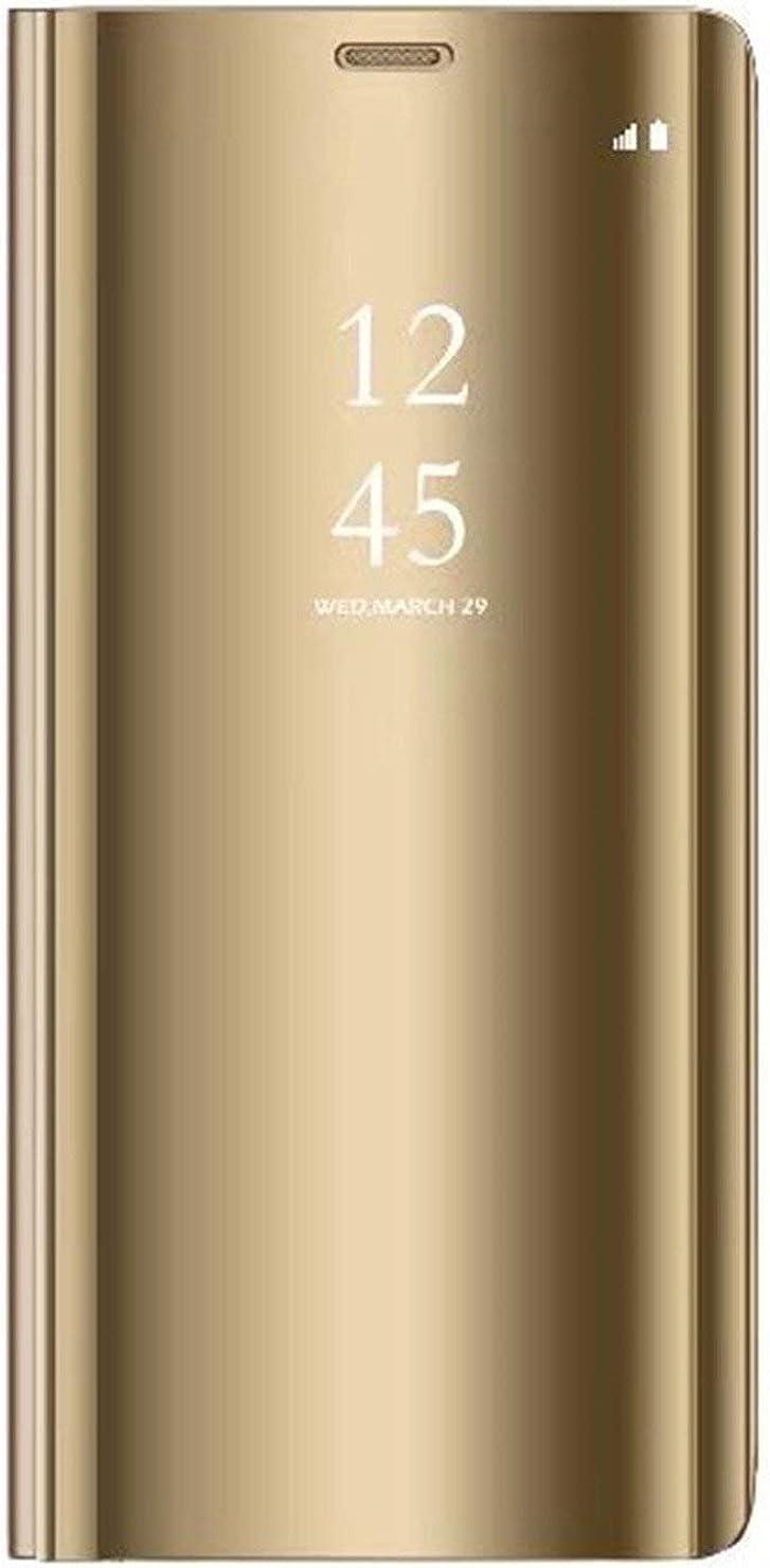 Alsoar - Carcasa compatible con Xiaomi Mi Max 3, funda 360 ° de protección inteligente vista clara espejo de electroplato, revestimiento Kickstand Características Flip Funda para Xiaomi Mi Max 3