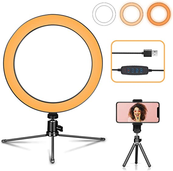 Ring Light with Stand OEBLD Dimmable Desk Selfie Ring Light with Phone Holder for Video Photography Remote Control for Makeup Live Streaming YouTube Lighting 10.2Ring Light /& Tripod D