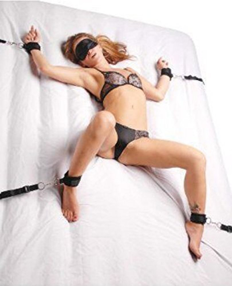 Abesty Adult Restraint Toys Under Bed, Bed Restraint Kit with HandCuffs Soft and Comfortable for Couples Bedroom Pleasure - Adjustable Straps Fit Almost Any Size Mattress, Black