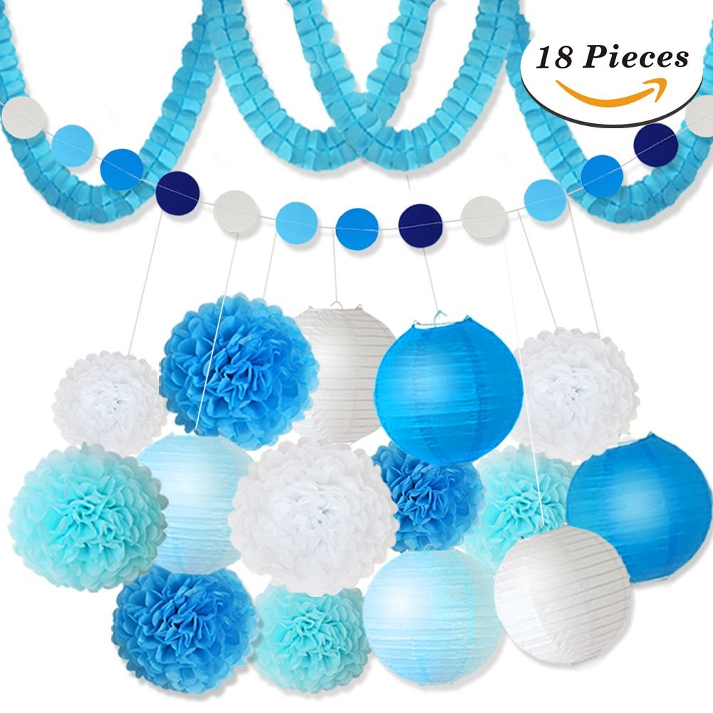 XFunino 18 Pcs Tissue Paper Flowers Pom Poms Decorations Theme Paper Lanterns Polka Dot Four Leaf Hanging Paper Garland 11.8ft for Baby Shower Wedding Birthday Party Supply, Blue by XFunino