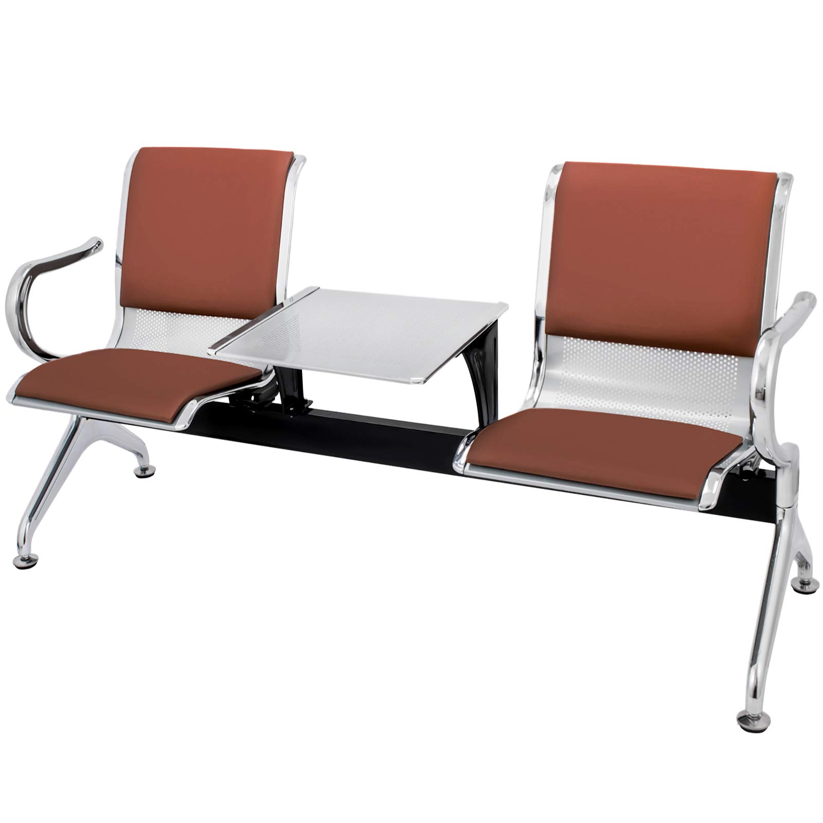 VEVOR Waiting Room Chairs with Table 2 Seat PU Leather Business Reception Bench Waiting Chairs for Office Barbershop Salon Airport Bank Hospital Market(2 Seat,Brown) by VEVOR