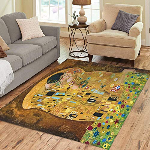 Semtomn Area Rug 3' X 5' Brown Klimt Inspired Abstract Batik Painting Grounds of Gustav Home Decor Collection Floor Rugs Carpet for Living Room Bedroom Dining Room
