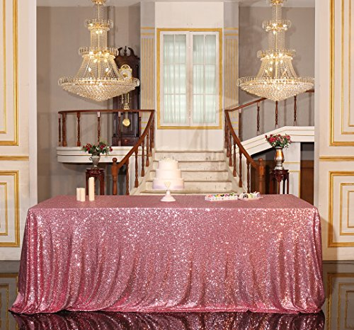 "PartyDelight Sequin Tablecloth, Wedding, Banquet, Rectangular, 90""x156"", Fuchsia Pink"
