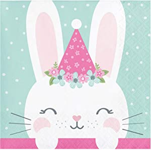 Creative Converting Pastel Bunny Print Beverage Napkins - 16pcs