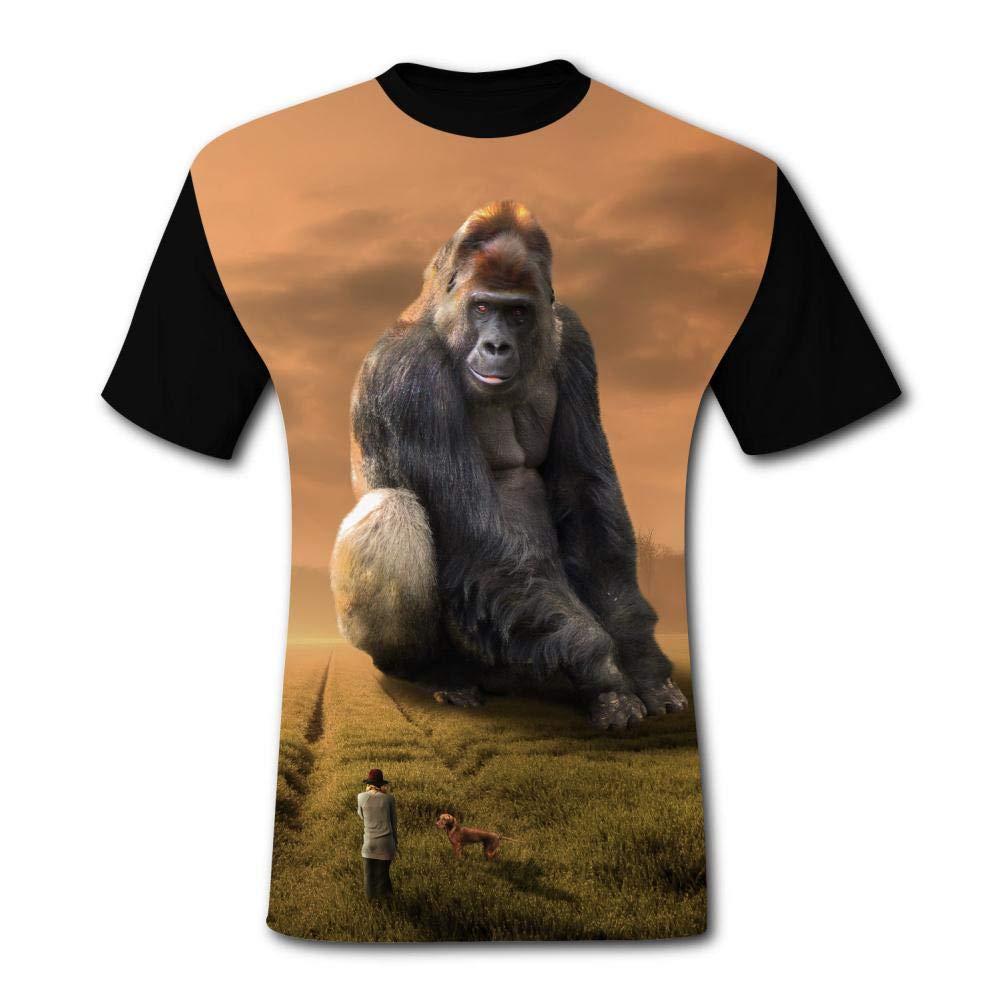 cc137e25a8 SMXNJSUE44 Men's 3D Gorilla at Sunset Print Short Sleeve T-Shirt Fashion  Tees | Amazon.com