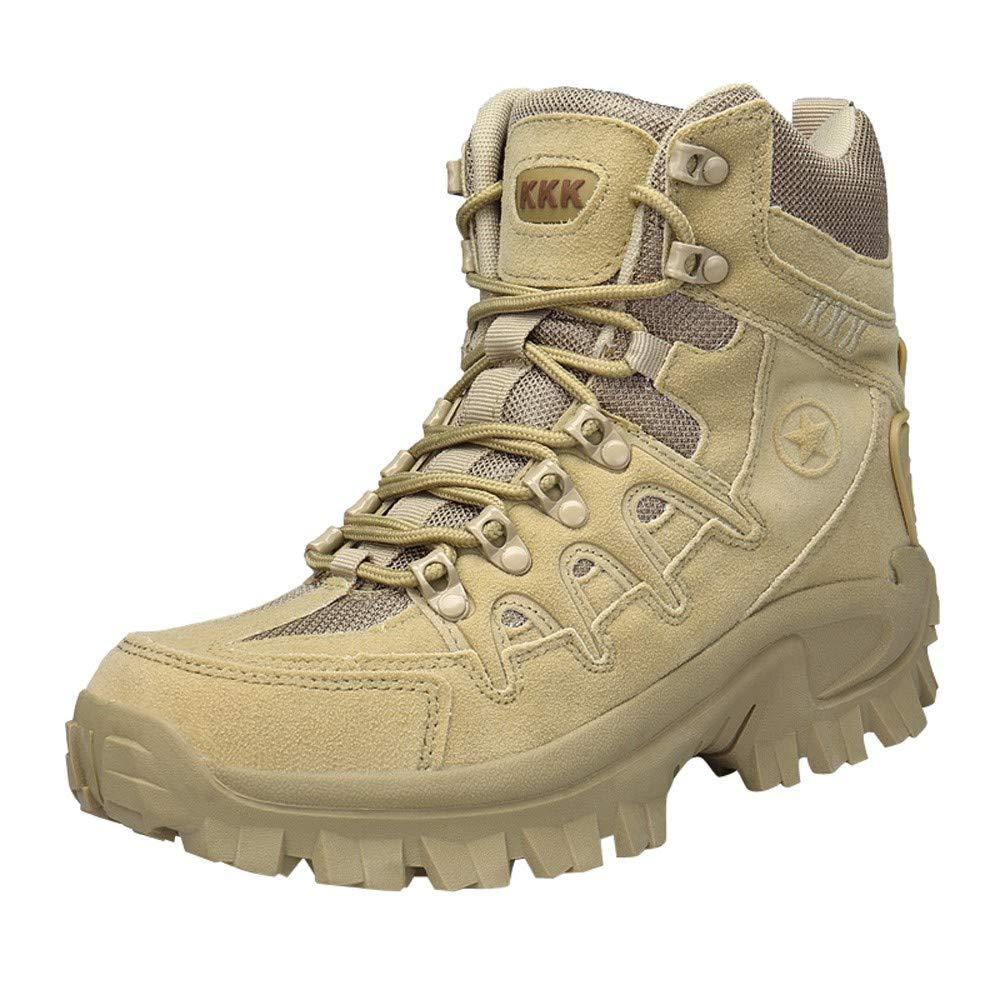 Men Tactical Boots,HOSOME Men's Military Boots Sport Desert Outdoor Hiking Leather Combat Shoes Khaki
