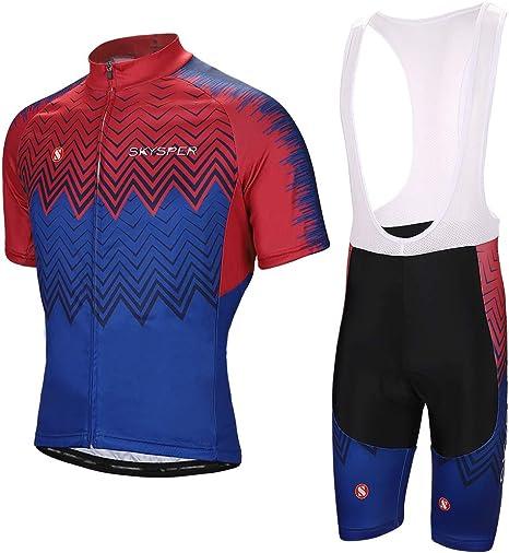 SKYSPER Ciclismo Maillot Hombres Jersey + Pantalones Cortos Culote Mangas Cortas de Ciclismo Conjunto Ropa Equipacion 3D Gel Acolchado Transpirable Verano para Deportes al Aire Libre Ciclo Bicicleta: Amazon.es: Deportes y aire