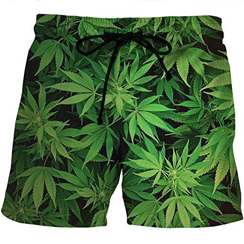 (ZFADDS Men Colorful Leaf Leaves Weeds 3D Print Quick Dry Short Pants Mesh Short Pants Streetwear 0069 XXXL)