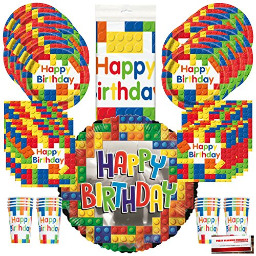 Building Blocks Birthday Party Supplies Bundle Pack for 16