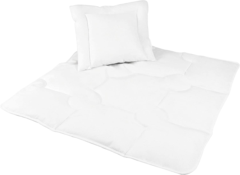 Zollner Edredón y almohada para minicuna 400g, 80x80 y 35x40 cm, de fibra