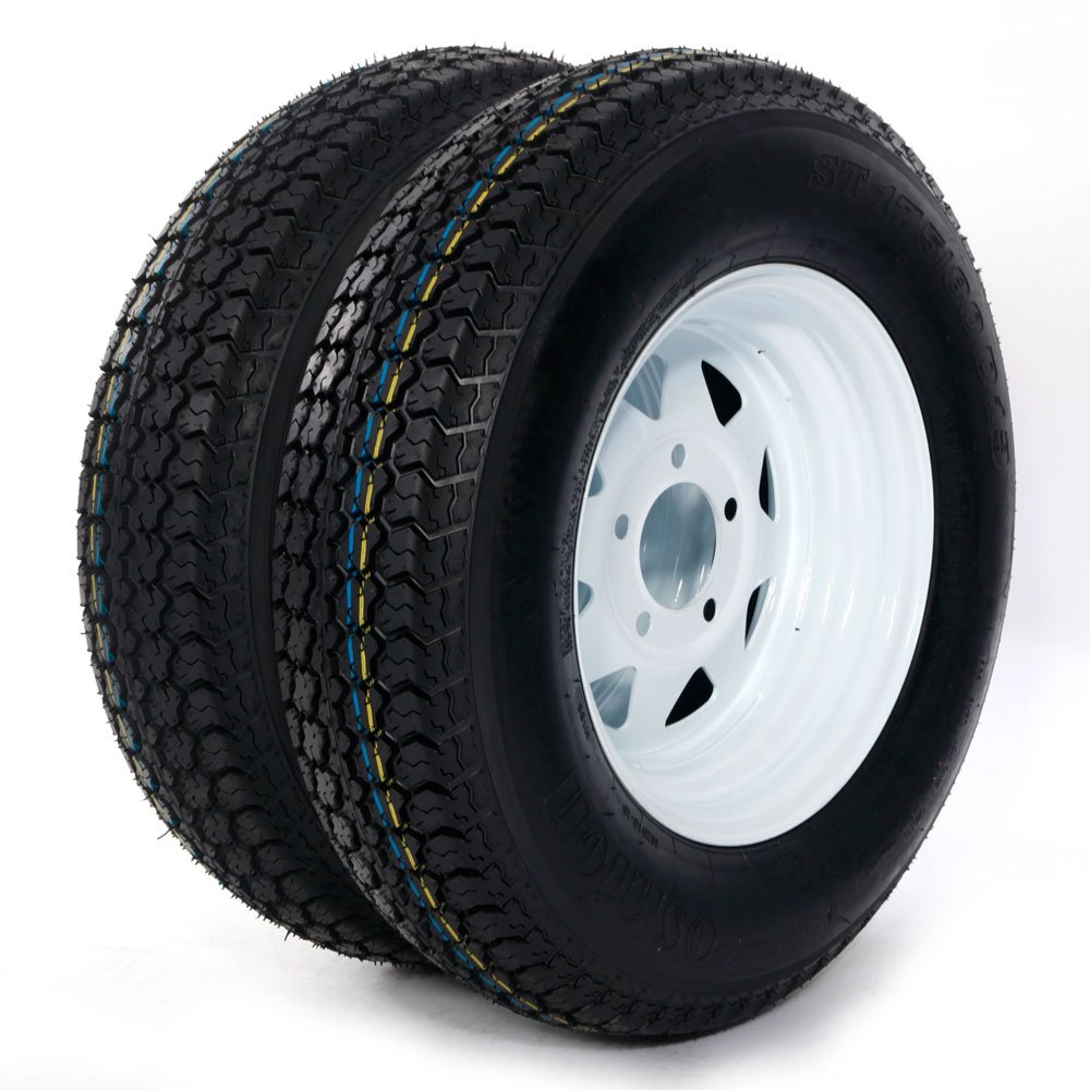 13'' ST175-80D13 LRC ET Bias Trailer Tire 5 Lug 6 Ply Spare Rubber Tires with White Spoke Steel Wheel (Pack of 2) Motorhot