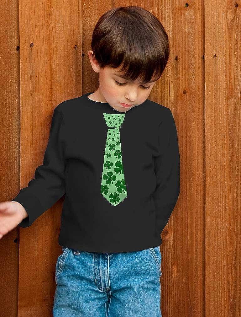 Patricks Day Shamrock Cool Unisex Long Sleeve Kids T-Shirt Irish Clover Tie St