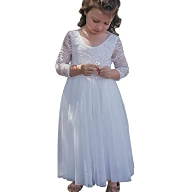 8506d296136 A LITTLE LACEY Juliette Lace Flower Girl Tulle Dress Long Sleeve ...