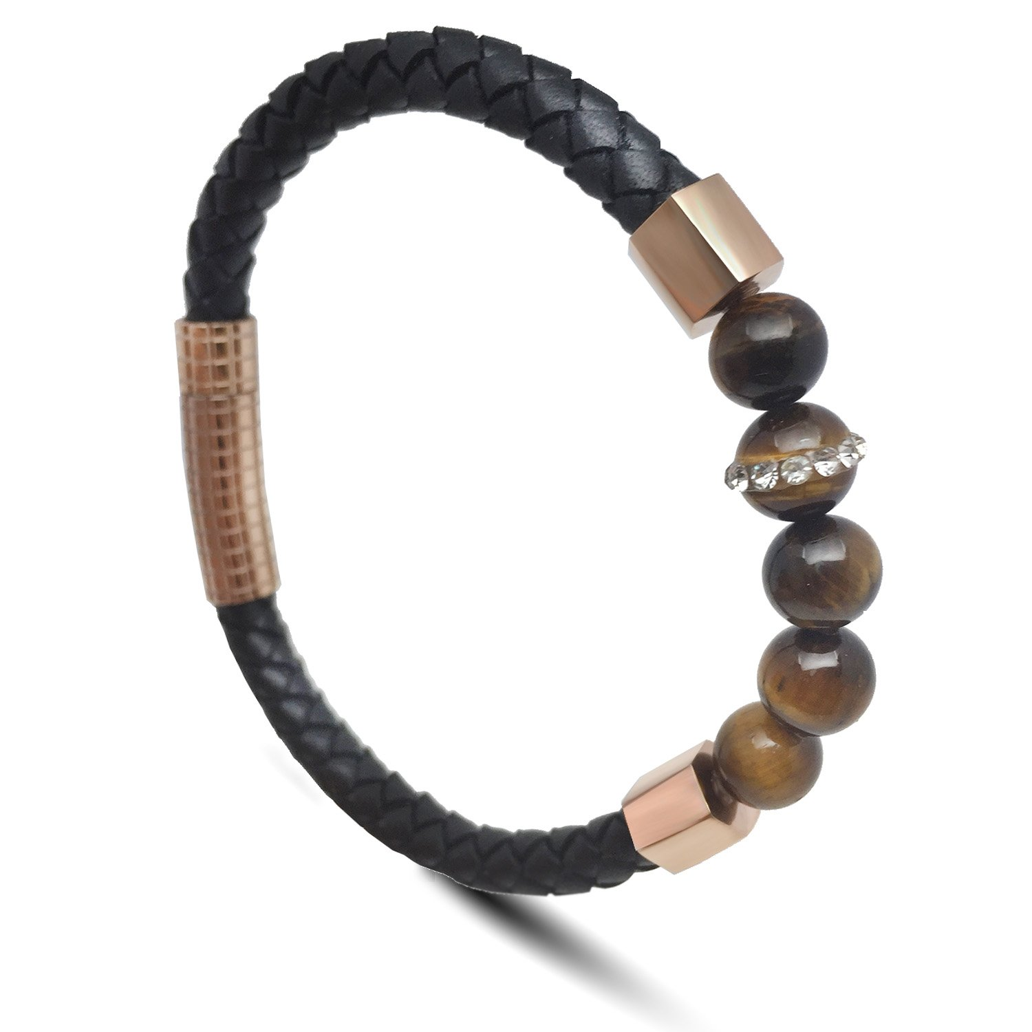 ZD-jewelry Mens Leather Bracelet Cowhide Braided Natural Tiger's-eye Beads Stainless Steel Buckle, Black Leather,Bracelet For men 8.5 inch by ZD-jewelry (Image #1)