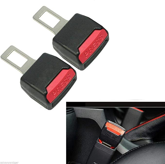 2X Car Auto Universal Safety Seat Belt Buckle Extension Alarm Extender Gray
