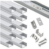 Starlandled-profiel breed, aluminium kanaal, 10 stuks met complete montageaccessoires voor maximaal 16 mm ledstriplicht…