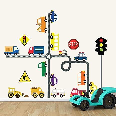 Decalmile Pegatinas De Pared Transportes Y Carreteras Vinilos Decorativos Infantiles Educación Coche Señal De Tráfico Adhesivos Pared Habitación Bebés