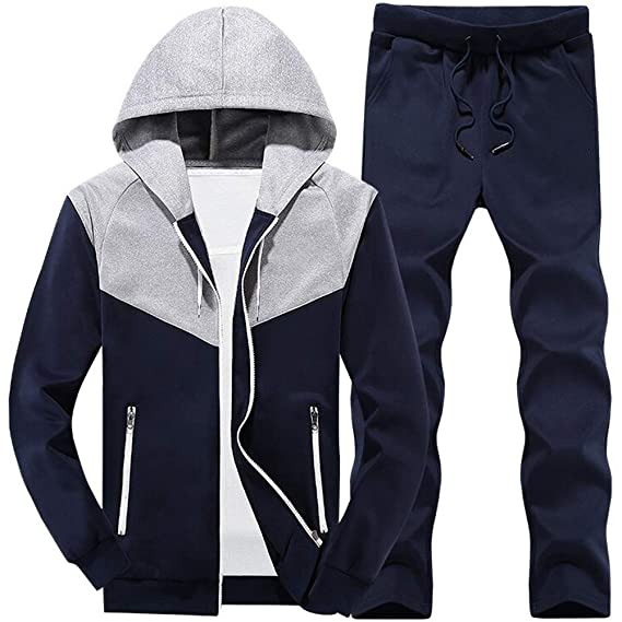 32953a482bb MANLUODANNI Men s Tracksuit Sets Bottoms Zipper Jogging Gym Suit Jacket  with Zip Pockets Gray S