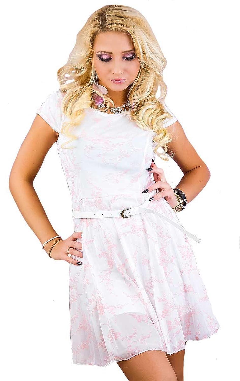 Leichtes Sommerkleid mit Gürtel weiß rosa