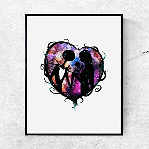 Amazoncom The Nightmare Before Christmas Jack And Sally Watercolor