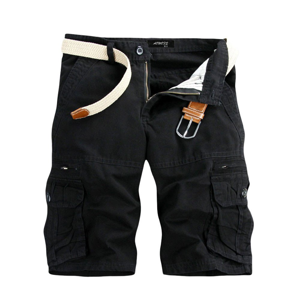 Men Outdoor Tactical Shorts Cotton Cargo Shorts Quick Dry Lightweight Expandable Waist with Multi Pockets Water Resistant (Asian Size:29, Black)
