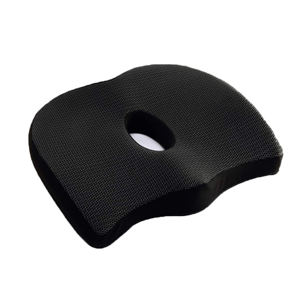 PPY1818 Cushion Office Chair Cushion Student Cushion Breathable Memory Cotton Increased Thickening Bamboo Cooling Seat Cool Pad Non-Slip Summer (Color : Black, Size : 33CM44CM8CM)
