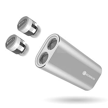 Rowkin AudÍfonos totalmente inalámbricoscon cargador portátil. Juego de mini audÍfonos de manos libres inalámbricos pequeños