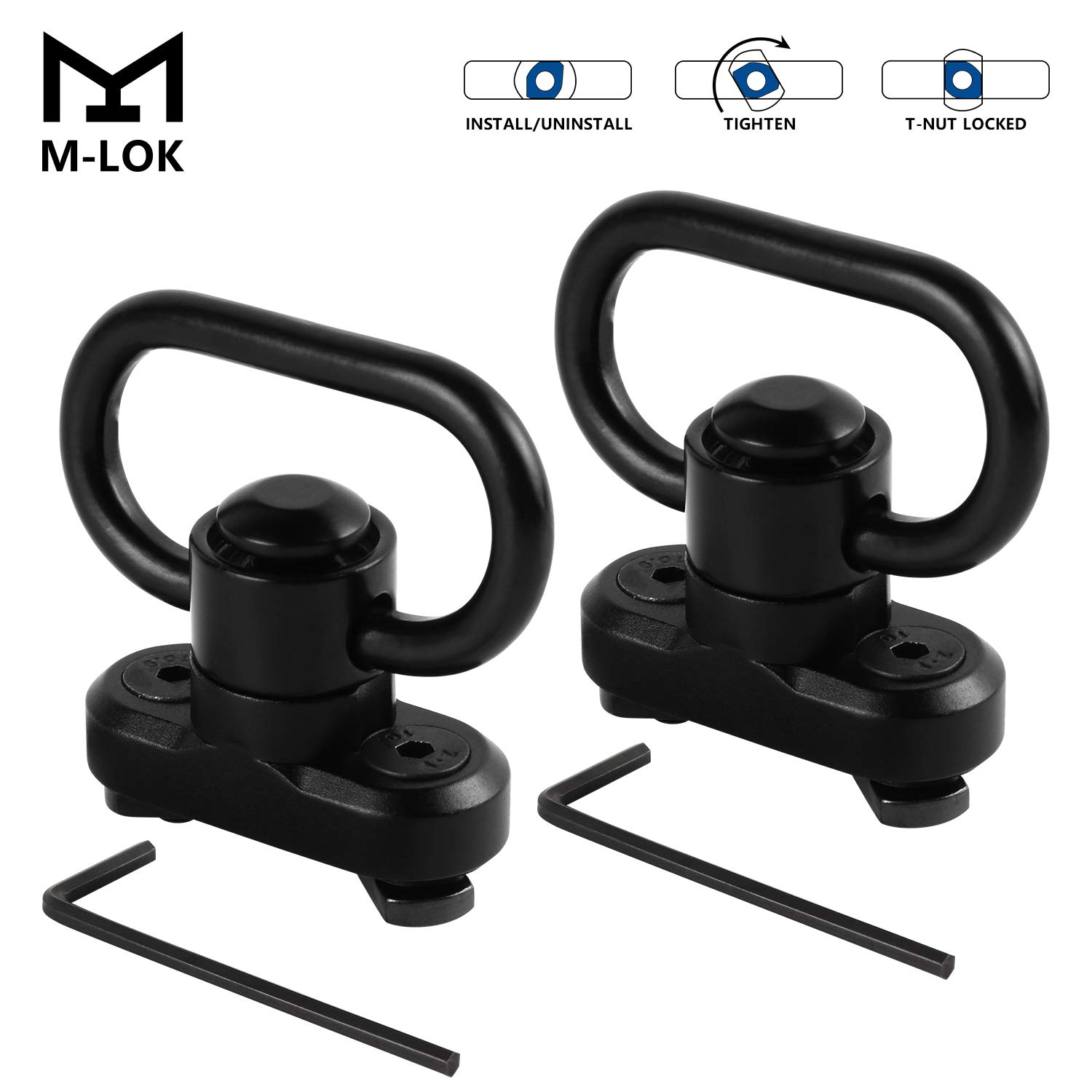 LaneTop 2 Pack M-lok Sling Mount with QD Swivel,1.25 Inch Quick Detach Sling Swivel Adapter for MLOK Rail System by LaneTop