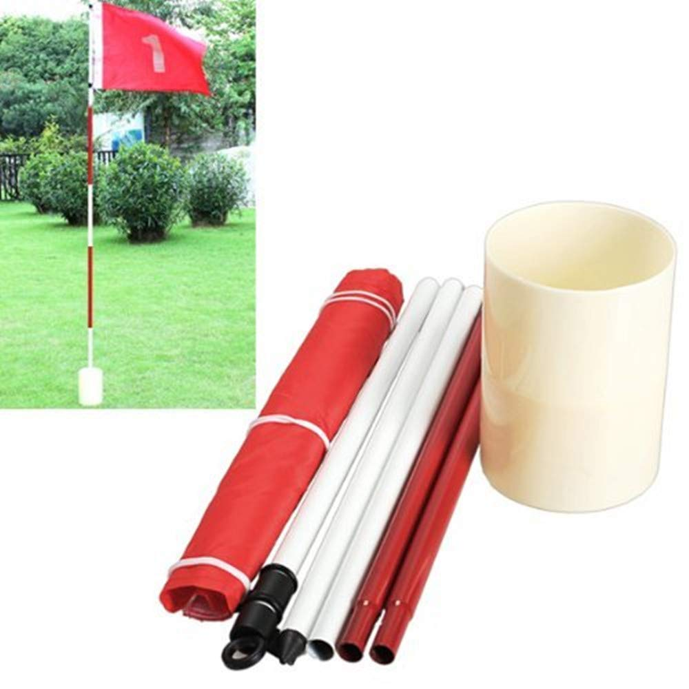 77tech Backyard Practice Golf Hole Pole Cup Flag Stick, 5 Section Golf Putting Green Flag Stick Cup by 77tech