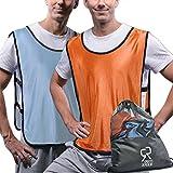 SportsRepublik Pinnies Scrimmage Vests (12-Pack) | Multiple Colors Practice Jerseys | Kids, Youth or Adult Sizes | Arctic Blue and Orange Medium