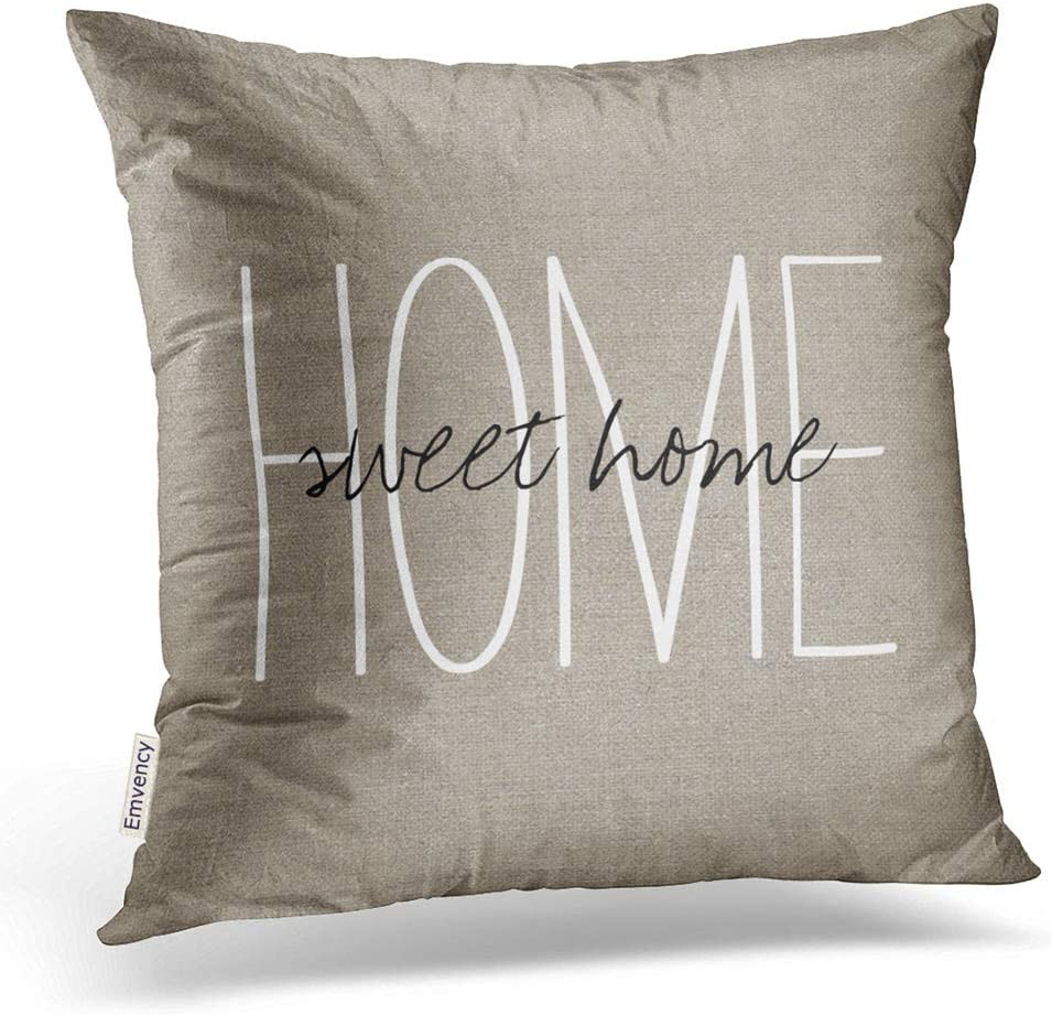 Emvency Square 20x20 Inches Decorative Pillowcase Print Rustic Home Sweet Home Family Happy Linen Decor Throw Pillow Cover With Hidden Zipper For Bedroom Sofa