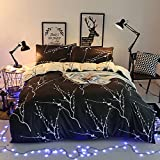 Hxiang 3pcs Tree Branches Pattern Printed on Charcoal Dark Gray Grey, Soft Microfiber Bedding (Grey, Queen)