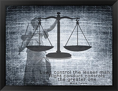 Justice Law Mark Twain Quote Framed Art Print Wall Picture, Black Frame, 26 x 20 inches (Photo Law)