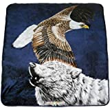 79x94 Flying American Bald Eagle Howling Wolf Soft Plush Faux Mink Queen Blanket