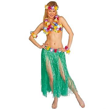 Falda HAWAIANA para disfraz de hawaiana de rafia de colour verde ...