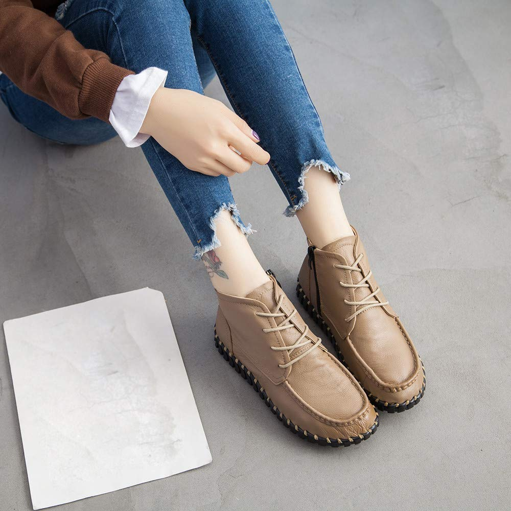 GoodLock Women Fashion Leather Boots Hand-Stitched Soft Bottom Single Shoes Retro Boots