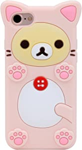 Funermei Pink Bear Case for iPhone 5S 5C 5,Silicone 3D Cartoon Animal Cover,Kids Girls Cool Fun Lovely Cute Cases,Kawaii Soft Gel Rubber Unique Character Fashion Funny Protector for iPhone 5/5S/5C