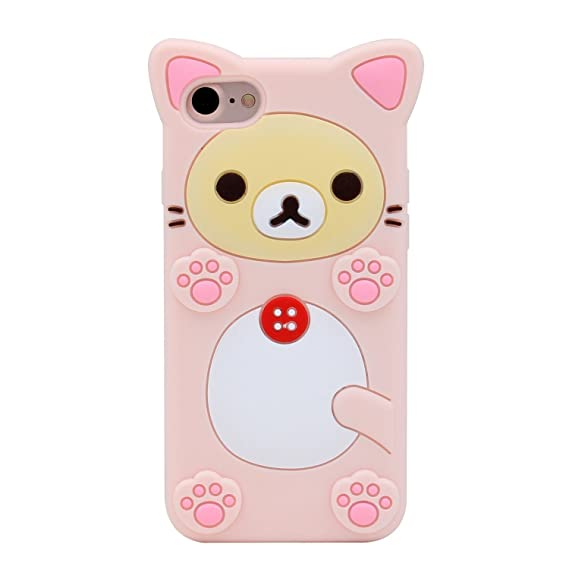 promo code f555e f7c18 Funermei Pink Bear Case for iPhone SE,5S 5C 5,Silicone 3D Cartoon Animal  Cover,Kids Girls Cool Fun Lovely Cute Cases,Kawaii Soft Gel Rubber Unique  ...