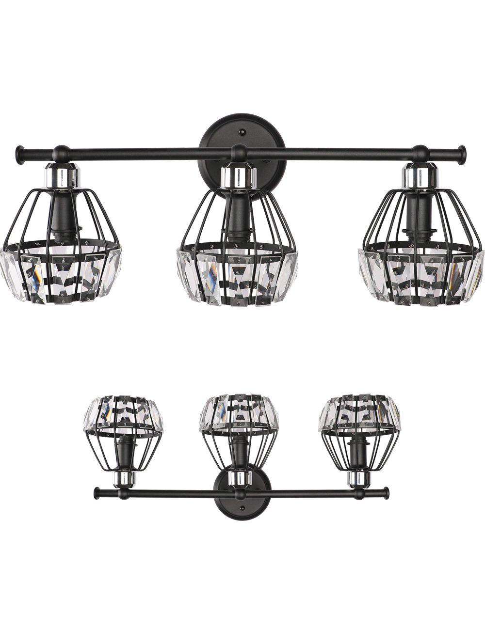 """SOLFART 3 Head Vintage Classical Crystal Vanity Lights Modern Bathroom Light Fixtures Over Mirror - 1.VINTAGE REFINED DESIGN: 5 Years Limited Warranty. Crystal brings more brilliance to your life, simple and luxurious design. 2.MEASUREMENTS: Length 23.6"""" x W9.4"""" x Height 8.1"""" ( L600*H210 mm ) 3.HIGH QUALITY MATERIAL: Class A K9 Sparkle Clear Crystal with Thickening Black Power Coat Finishing. Without Any Welding Defects. - bathroom-lights, bathroom-fixtures-hardware, bathroom - 61 irAoDBjL -"""