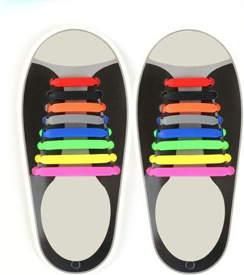 Fangfeen 3pcs Femmes Hommes Silicone Lacets /élastique No Tie Cravate Sneaker Silicone /étanche Flat Sneaker Courir Lacets